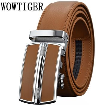 Men's Belts Luxury Automatic Buckle Genuine Leather Strap Black Brown for Men