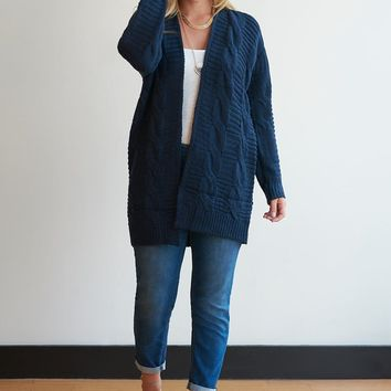 Cable Knit Open Cardigan-- 6 Colors!