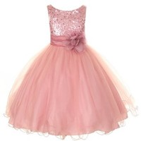 Kids Dream Little Girls 4 Rose Sequin Double Mesh Flower Girl Dress