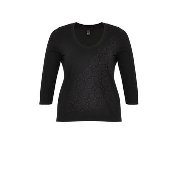 Yoek Shirt Tight Applique Black
