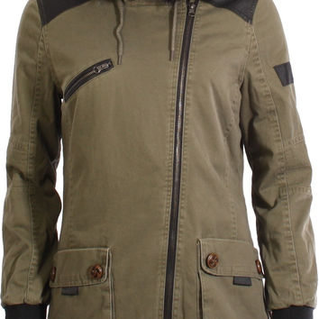 Bellfield Makushino Hooded Biker Style Parka Jacket