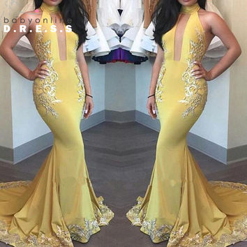 Long Yellow Prom Dresses 2017 Halter Mermaid Prom Party Gowns Lace Appliques Longos Vestidos De Formatura