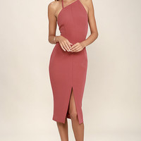 Keepsake Walk the Wire Marsala Midi Dress