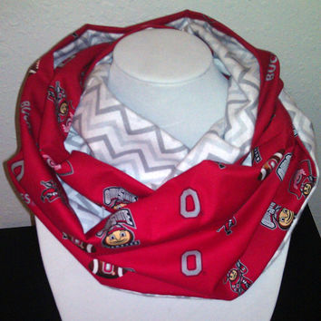 Ohio State Buckeyes Infinity Scarf - Chevron Cotton Cowl for Woman, Student - College NCAA Football Sports