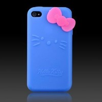 Hello Kitty Silicone with Pink Bow Cover Case for iPod Touch iTouch 4 4g-Blue