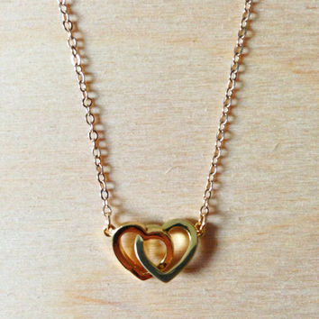 Gold Heart Necklace - Linked Heart Pendant