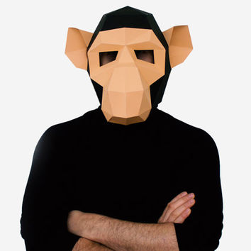 Make your own Monkey Mask, Animal Head, Instant Pdf download, DIY Halloween Paper Mask, Printable Chimpanzee Mask, 3D Pattern, Polygon Masks
