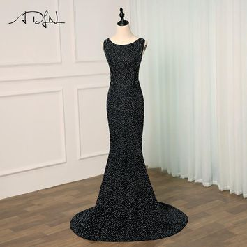 ADLN Sexy Prom Dress Long 2018 Luxury Crystal Beading Evening Party Gowns Mermaid Style Women Formal Dresses Illusion Back