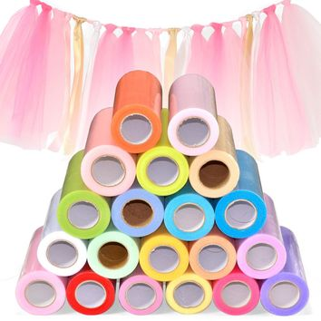 Tulle Roll 15cm 25 Yards Wedding Organza Table Runners Decoration Yarn Gauze Element Banquet Bow Decoration Marriage Favors