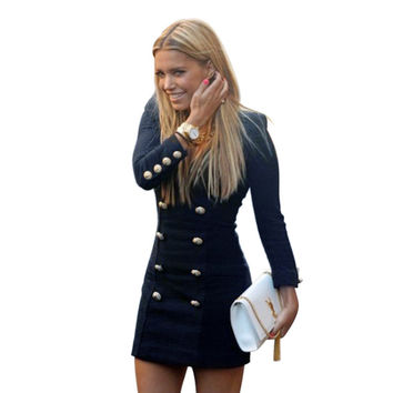 hot sell women autumn dresses 2016 new fashion preppy style V-neck sexy dress with button slim long sleeve bureau droite #521 SM6