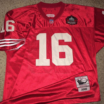 Sale!! Vintage San Francisco SF 49ers throwback 2000 Football Jersey NFL #16 Montana tee shirt