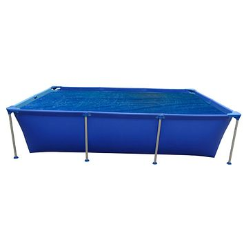 8 x 5.5 ft Blue Rectangular Floating Steel Frame Swimming Pool Solar Cove