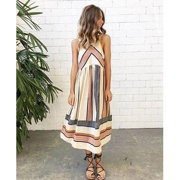 2017 Hot Sale Brand New Women Summer Dress Plus Size O Neck Sleeveless Long Dress Boho Beach Print Stripe A Line Dresses Vestido