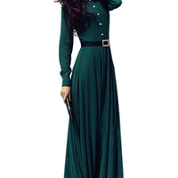 Dark Green Long Sleeve Maxi Chiffon Dress