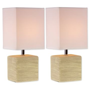 Square Ceramic Mini Table Lamps Beige Finish (Set of Two)