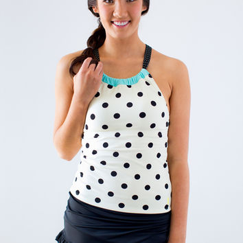Cinch-Neck Cream Dot Tankini Top | Lime Ricki Swimwear
