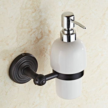Solid Brass Black Soap Dispenser Antique Soap Dispenser Ceramic Soap Bottle Wall Mounted Bathroom Accessories