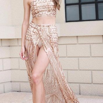 Davina Two-Piece Sequin Luxe Gown