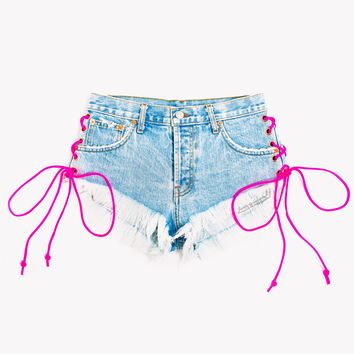 Neon Pink Side Lace Up Babe Shorts