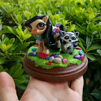 Disney Pocahontas Pony Polymer clay figure//gifts for her//Disney fans//racoon//fantasy//collectible