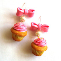 Pink Cupcake Earrings, Birthday Cupcake Earrings, Cupcake Jewelry, Miniature Food Jewelry