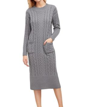 SheIn Designer Fashion Sweater Dresses for Winter New Grey Cable Knit Dual Pocket Front Slit Back Sweater Dress