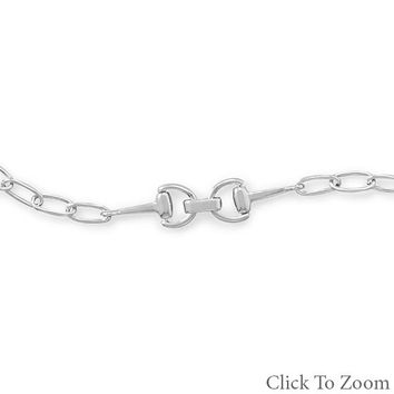 Rhodium Plated Link Bracelet with Horse Bit Design