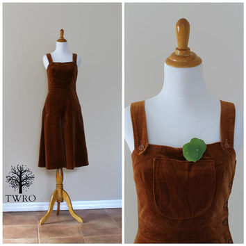 Vintage 70s Brown Velvet Gaucho Jumpsuit Overalls By Saks Fifth Avenue/ /Culottes Jumpsuit Romper / 1 One Piece// The Young Circle// Boho