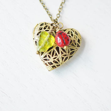 ladybug locket,heart locket,heart jewelry,bridesmaid necklace,insect jewelry,ladybird locket,animal necklace,christmas,best friend necklace