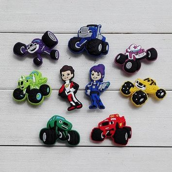 Blaze and the Monster Machines Shoe Charms Pvc Fit Buckles And Bracelets Lovely Buckle Accessories Decoration Party Cartoon Croc Jibbitz