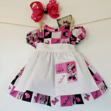 Girl Dress & Apron Toddler Minnie Mouse Disney Character Childrens Clothing Birthday Padgett Photo Props Original by MYSWEETCHICKAPEA