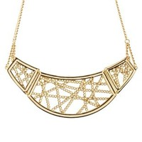 Gold Chain-Caged Statement Necklace by Charlotte Russe