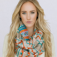 Tribal Chevron Infinity  Scarf Aztec Stripe Infinity Scarf Women's Trendy Fashion Summer Scarves (SCF-110A)