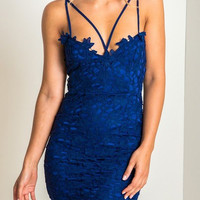 Blue Crochet Lace Strappy Dress
