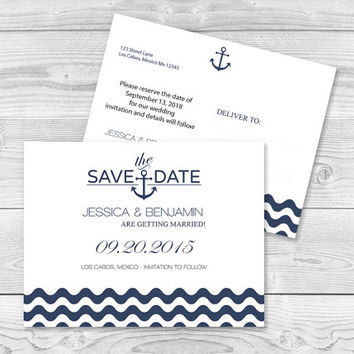 Nautical Save the Date Postcard Templates - Navy Anchor Wave Chevron Printable Wedding Save the Dates - 5.5 x 4.25 Editable PDF Template