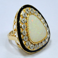Vintage 18 K gold Large Opal Diamond enamel ring Cocktail ring-9568-OK