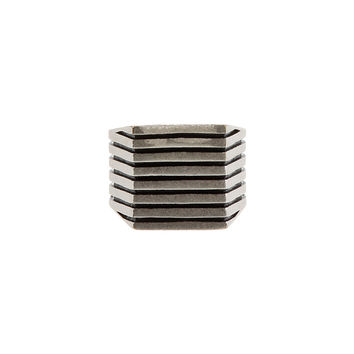Maison Martin Margiela Silver And Black Ribbed Square Ring