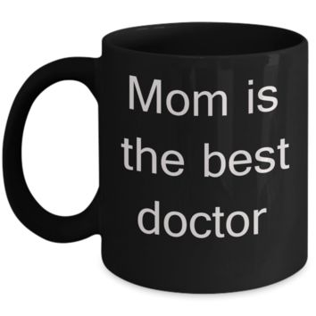 Aussie mom coffee mug - Mom is the Best Doctor - Black Porcelain Coffee Cup,Premium 11 oz Funny Mugs Black   coffee cup Gifts Ideas