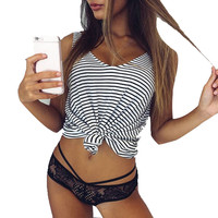 Women Wild Striped Tops Sleeveless Tshirt Crop Tops Fitness Vest Cropped Tank Tees Feminino CF