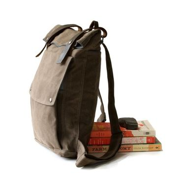 Supermarket: The Backpack in Brown Waxed Canvas from Moop
