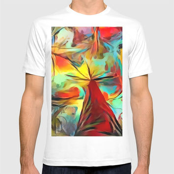 Red forest, colorful sky view, abstract warm artwork, red and yellow colors, nature themed pattern T-shirt by Casemiro Arts - Peter Reiss