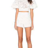 Lace Open Back Top Cover Up in Off White