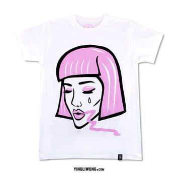 Lipstick Chick Glam MakeUp Fashion Wig Lashes Lips Eyes Pink Cry Baby Tear T-Shirt Tee Unisex Kawaii JPop Kpop