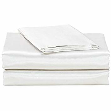 EliteHomeProducts EHP Super Soft and Silky Satin Sheet Set (Solid/Deep Pocket) (Queen, White)