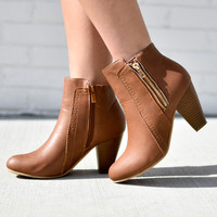 Talia Leather Chestnut Zipped Booties
