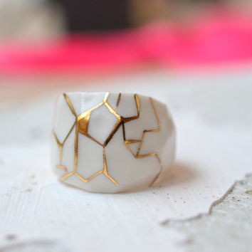 Durance, porcelain ring, glazed and painted with gold, one of a kind (OOAK), Porcelain jewelry