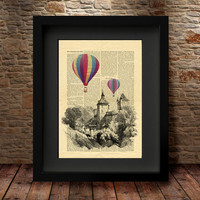 Balloon Tour, Classic Hot air balloon, turquise and yellow Book Print Dictionary sheet Balloon Print on Vintage Book art, Balloon -29
