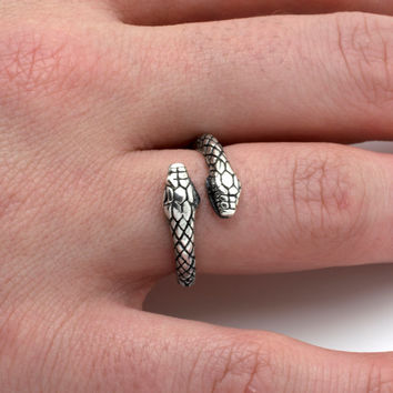 Snake Ring, Sterling Silver - Ouroboros Serpent Serpiente Ring Mens Ring Snake bague serpent Ring Thumb Ring