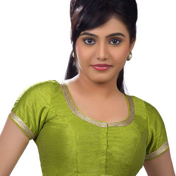 Elegant Lime Green Party-wear Silk Sari Blouse SNT-X-256-SL