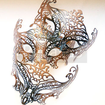 Steampunk Bronze Gunmetal Tone Mask base (1 Mask) Two Tone Lace Filigree Pattern Venetian Mask  - Masquerade ball costume or elven wedding